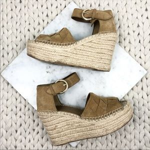 Marc Fisher Adalla Suede Cross Espadrille Wedges